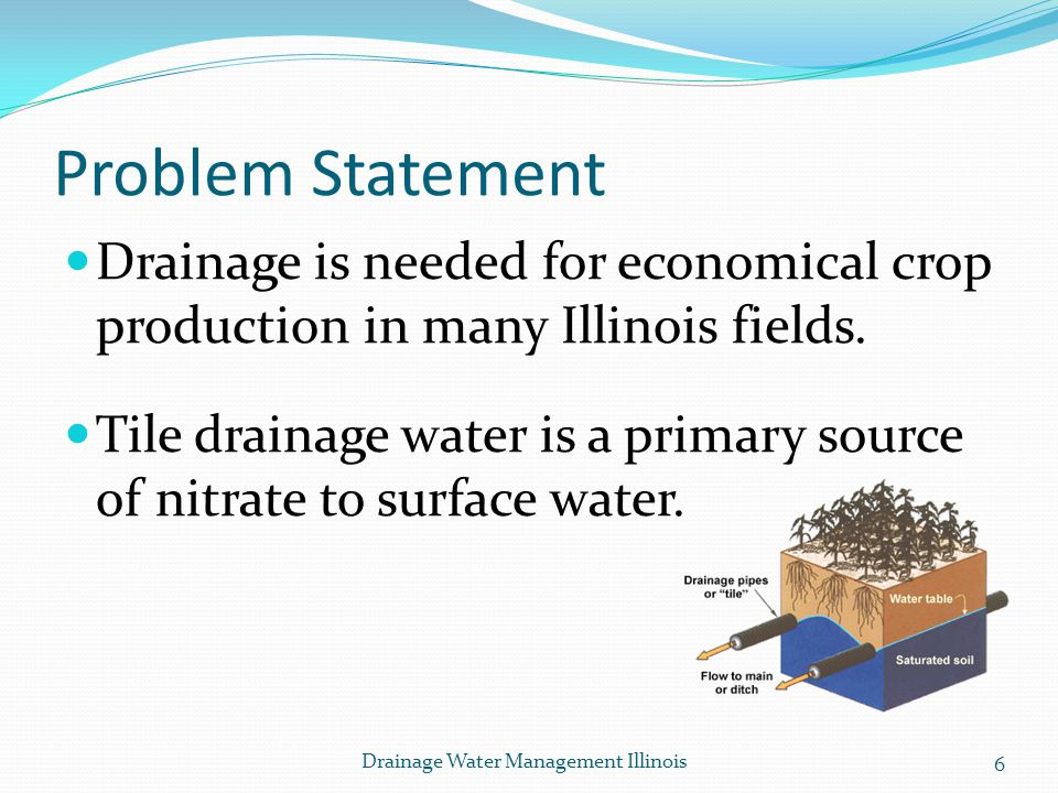 Problem Statement Drainage is needed for economical crop production in many Illinois fields.