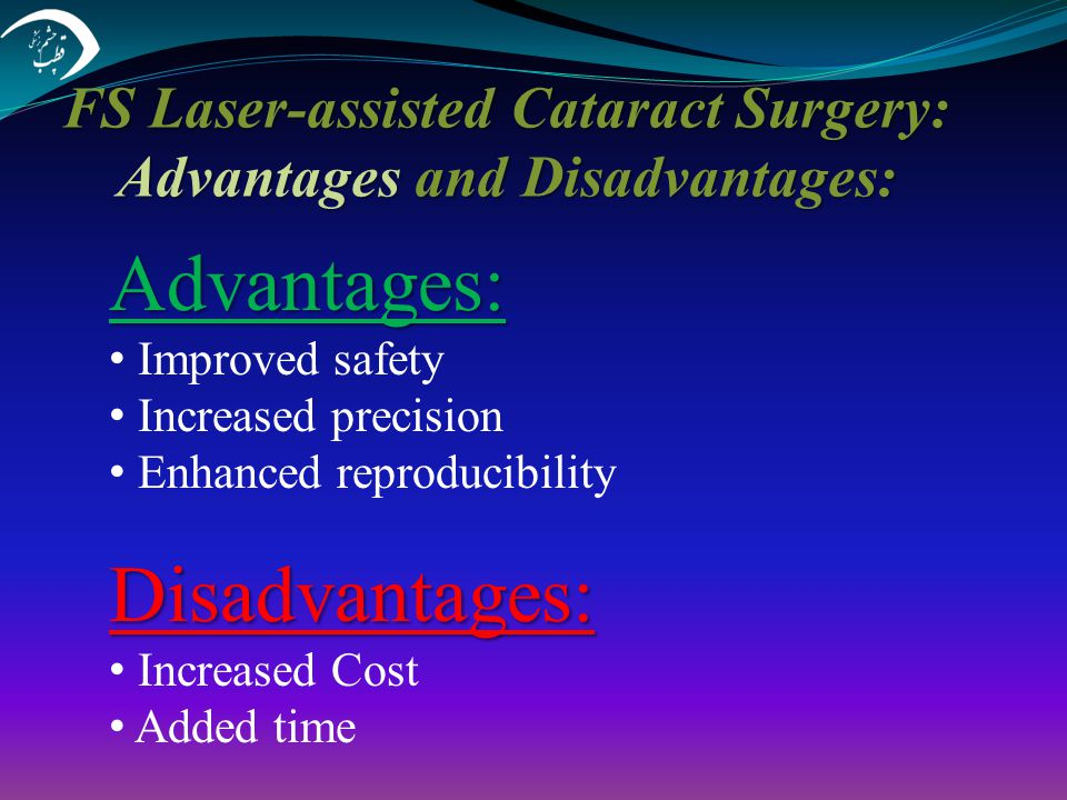 FS Laser-assisted Cataract Surgery: Advantages and Disadvantages: