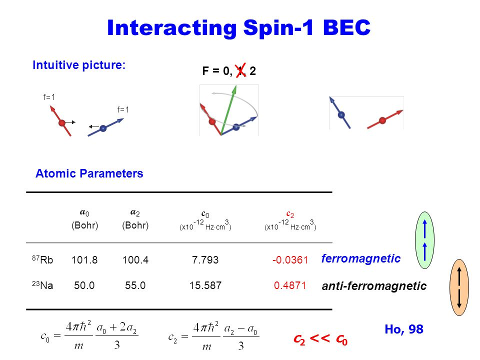 Interacting Spin-1 BEC c2 << c0 Intuitive picture: F = 0, 1, 2