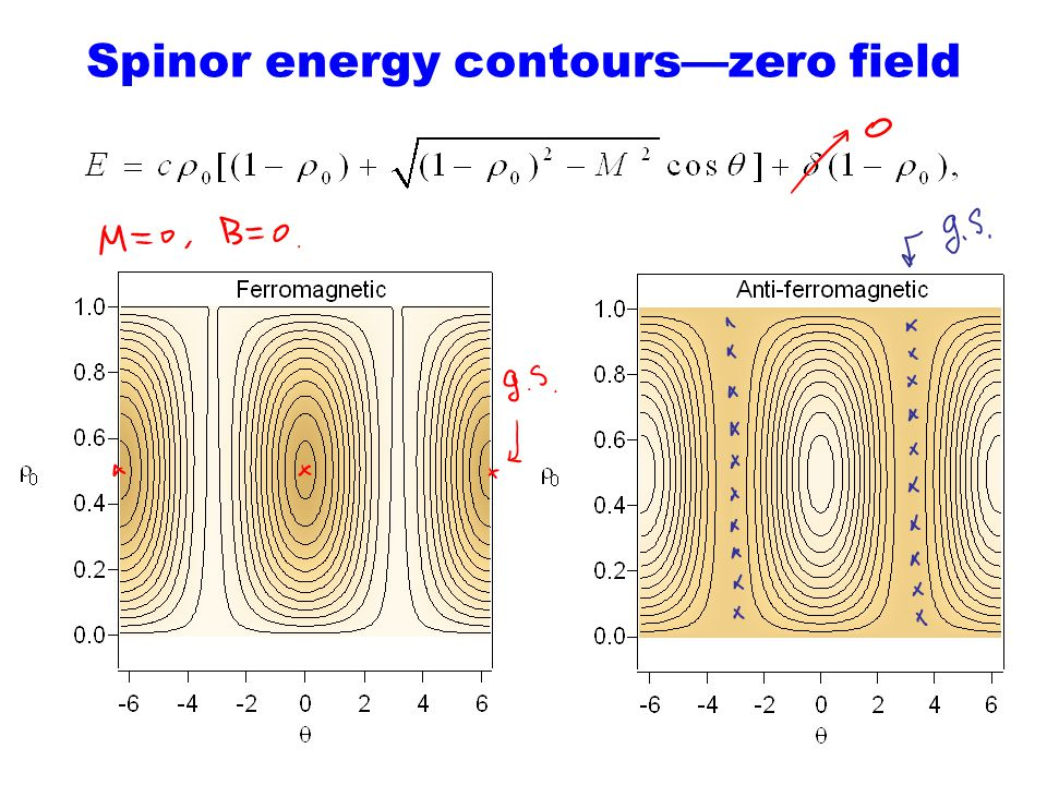 Spinor energy contours—zero field