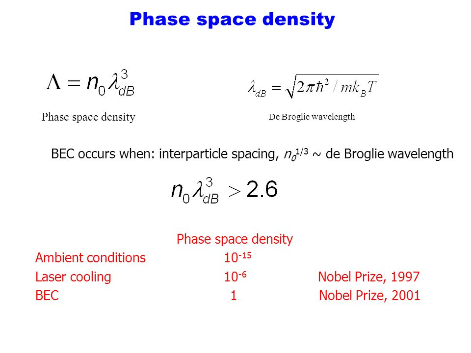 Phase space density Phase space density. De Broglie wavelength. BEC occurs when: interparticle spacing, n01/3 ~ de Broglie wavelength.