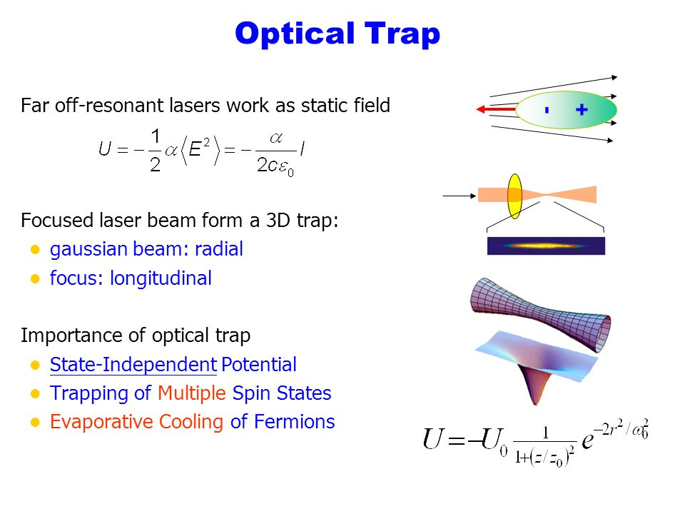 Optical Trap - + Far off-resonant lasers work as static field