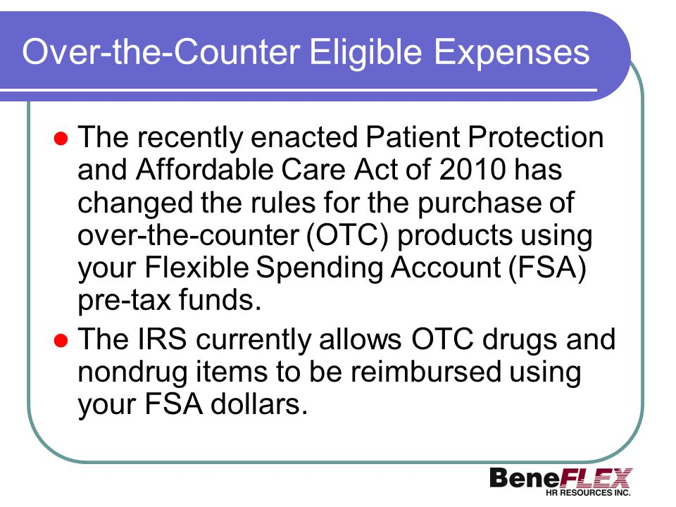 Over-the-Counter Eligible Expenses