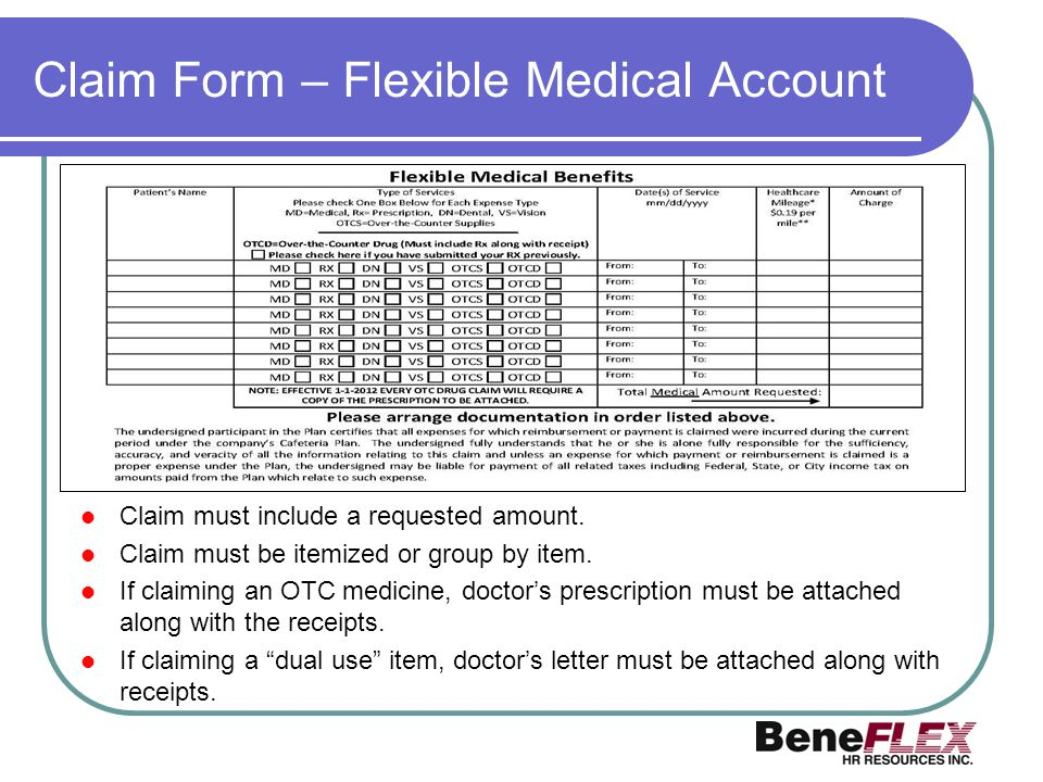 Claim Form – Flexible Medical Account