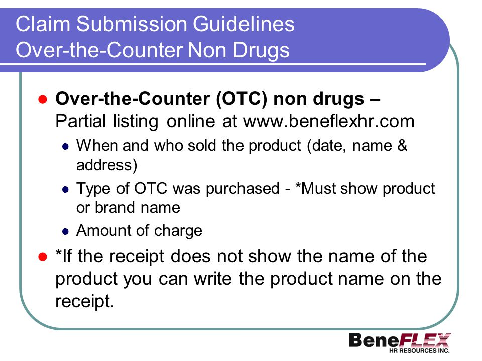 Claim Submission Guidelines Over-the-Counter Non Drugs