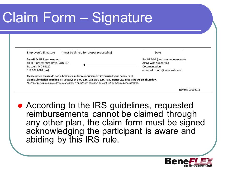 Claim Form – Signature