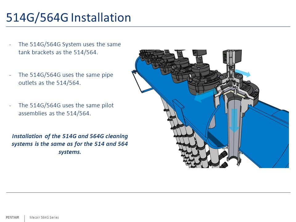 514G/564G Installation The 514G/564G System uses the same tank brackets as the 514/564. The 514G/564G uses the same pipe outlets as the 514/564.