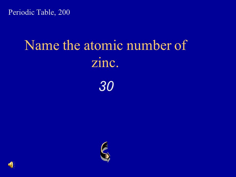 Name the atomic number of zinc.