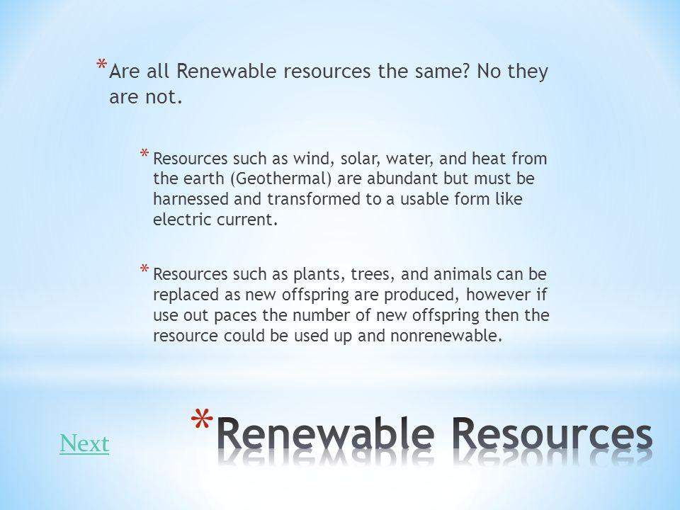 Renewable Resources Next