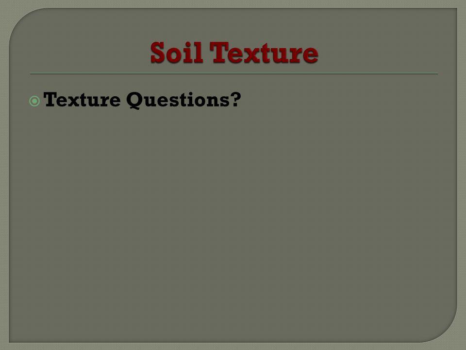 Soil Texture Texture Questions