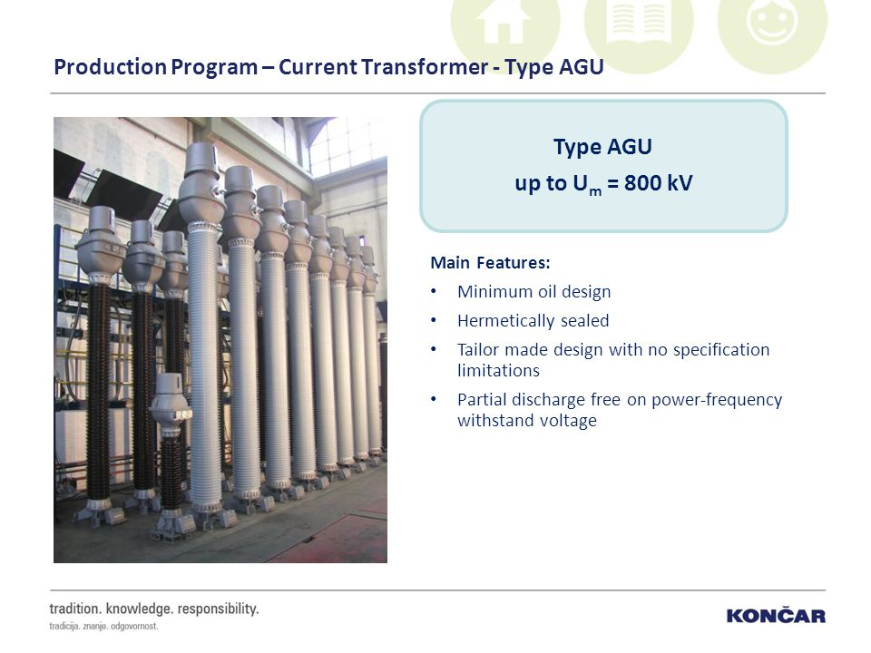 Production Program – Current Transformer - Type AGU