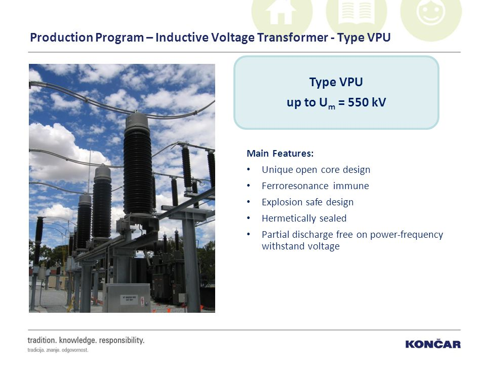 Production Program – Inductive Voltage Transformer - Type VPU