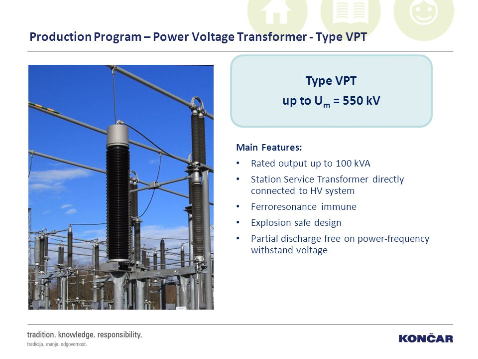Production Program – Power Voltage Transformer - Type VPT