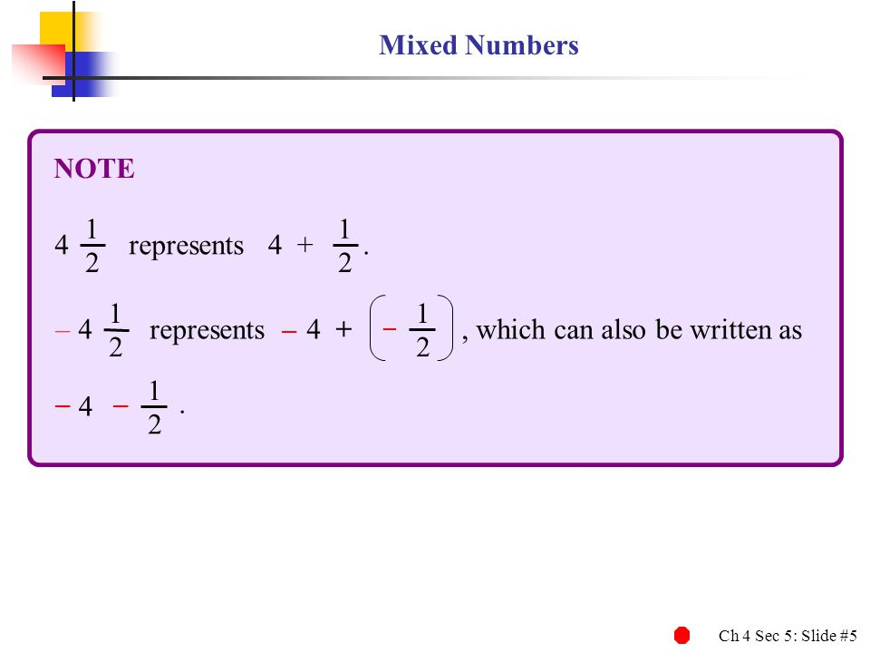 Mixed Numbers NOTE. 1. 2. 4. represents . 4 + – represents – – , which can also be written as.