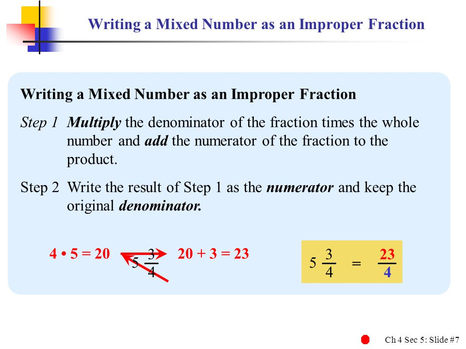Writing a Mixed Number as an Improper Fraction