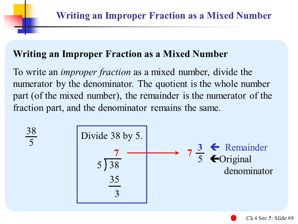 Writing an Improper Fraction as a Mixed Number