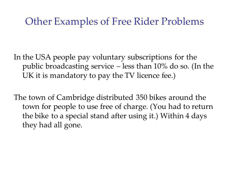 Other Examples of Free Rider Problems