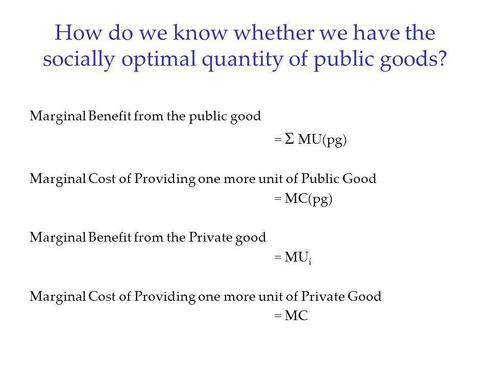 How do we know whether we have the socially optimal quantity of public goods