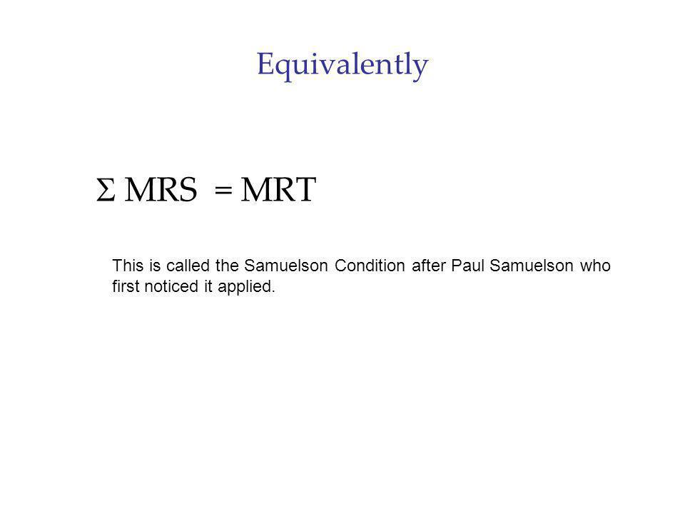 S MRS = MRT Equivalently