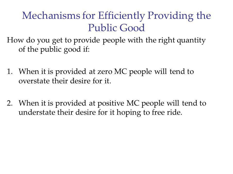 Mechanisms for Efficiently Providing the Public Good