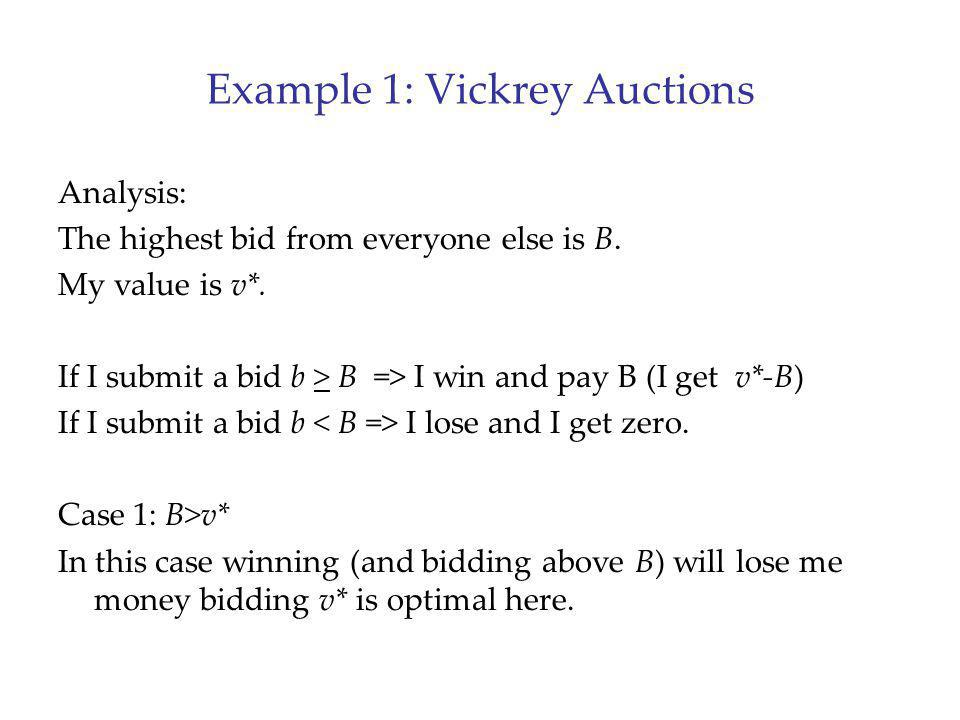 Example 1: Vickrey Auctions