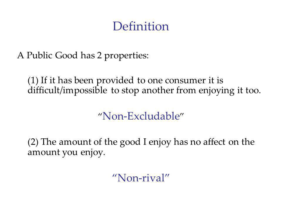 Definition Non-rival A Public Good has 2 properties: