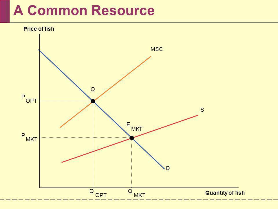 A Common Resource Price of fish MSC O P OPT S E M K T P MKT D Q Q