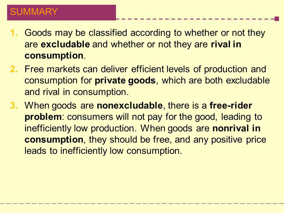 1. Goods may be classified according to whether or not they are excludable and whether or not they are rival in consumption.