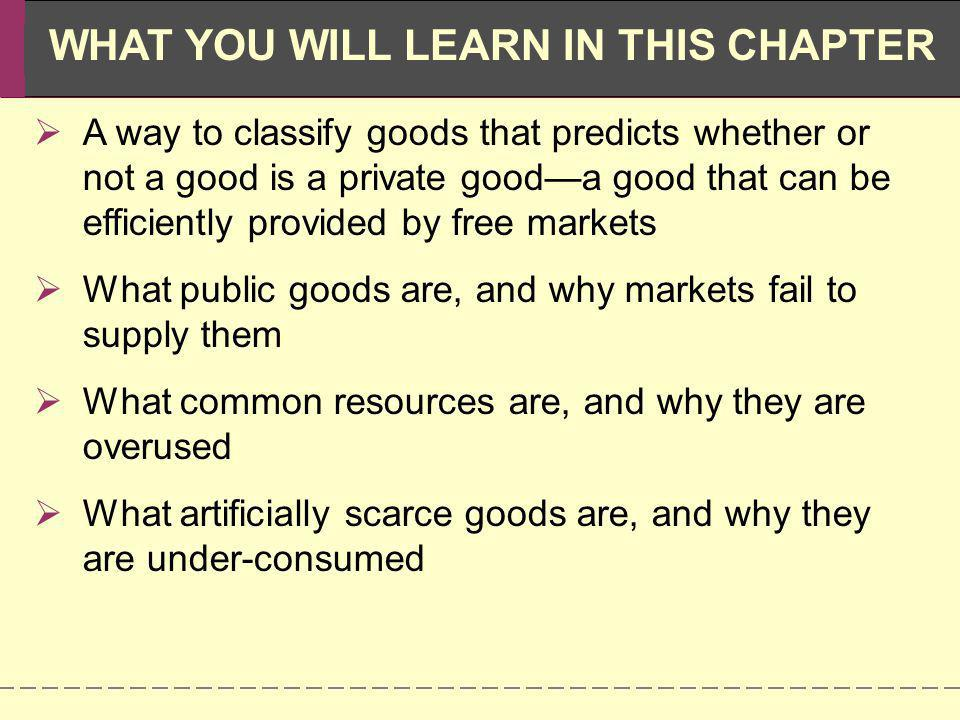 A way to classify goods that predicts whether or not a good is a private good—a good that can be efficiently provided by free markets