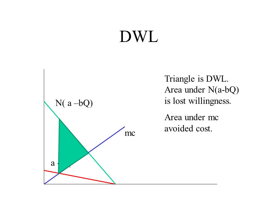 DWL Triangle is DWL. Area under N(a-bQ) is lost willingness.