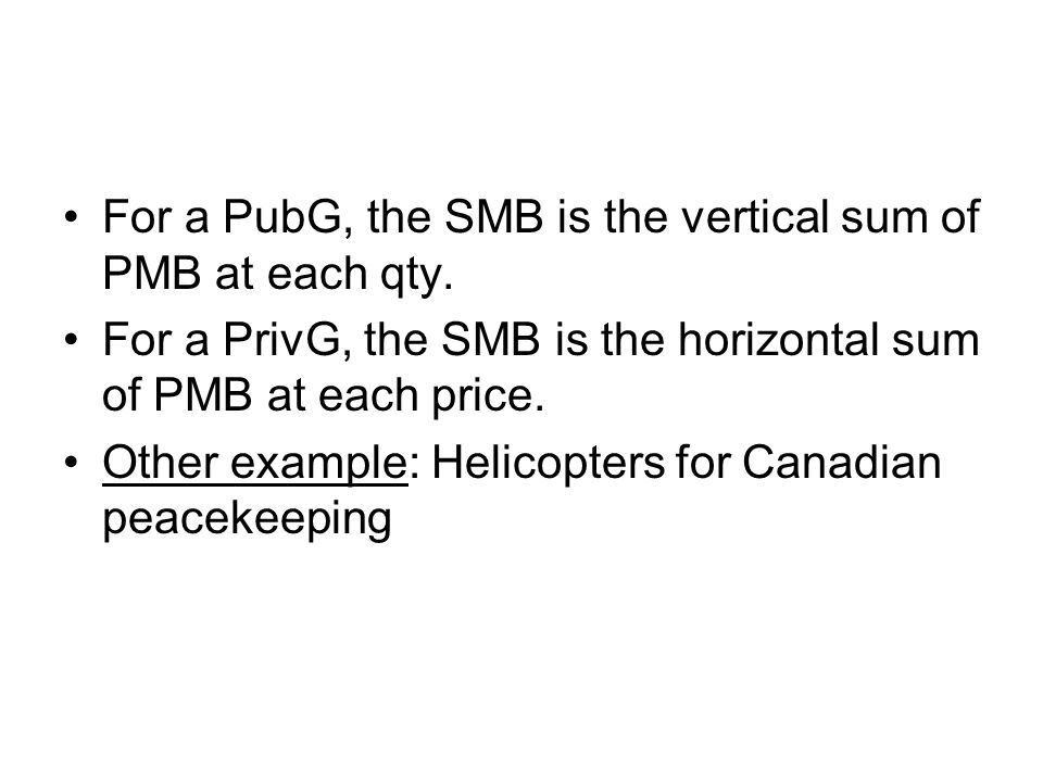 For a PubG, the SMB is the vertical sum of PMB at each qty.