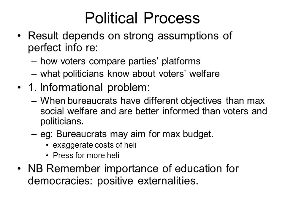 Political Process Result depends on strong assumptions of perfect info re: how voters compare parties' platforms.