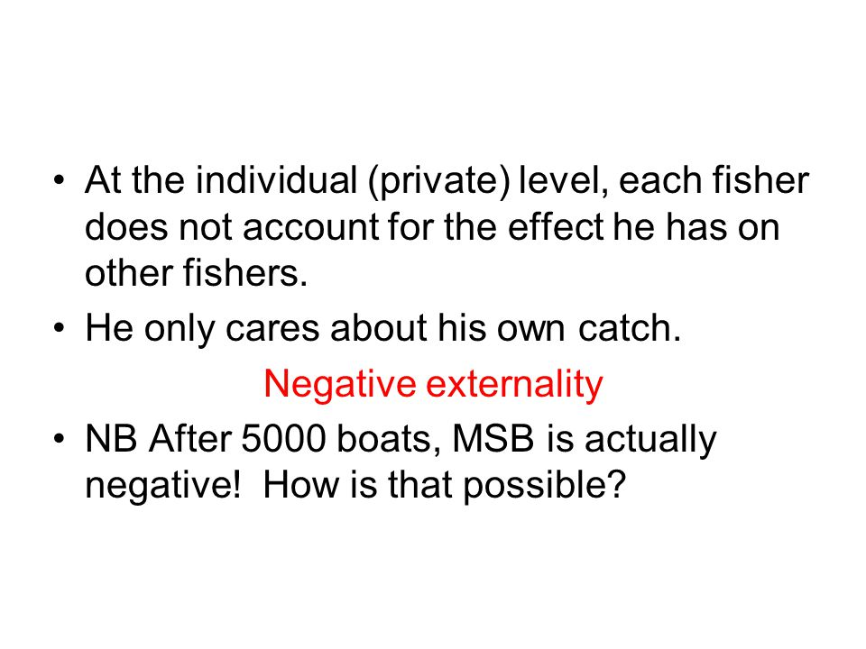 At the individual (private) level, each fisher does not account for the effect he has on other fishers.
