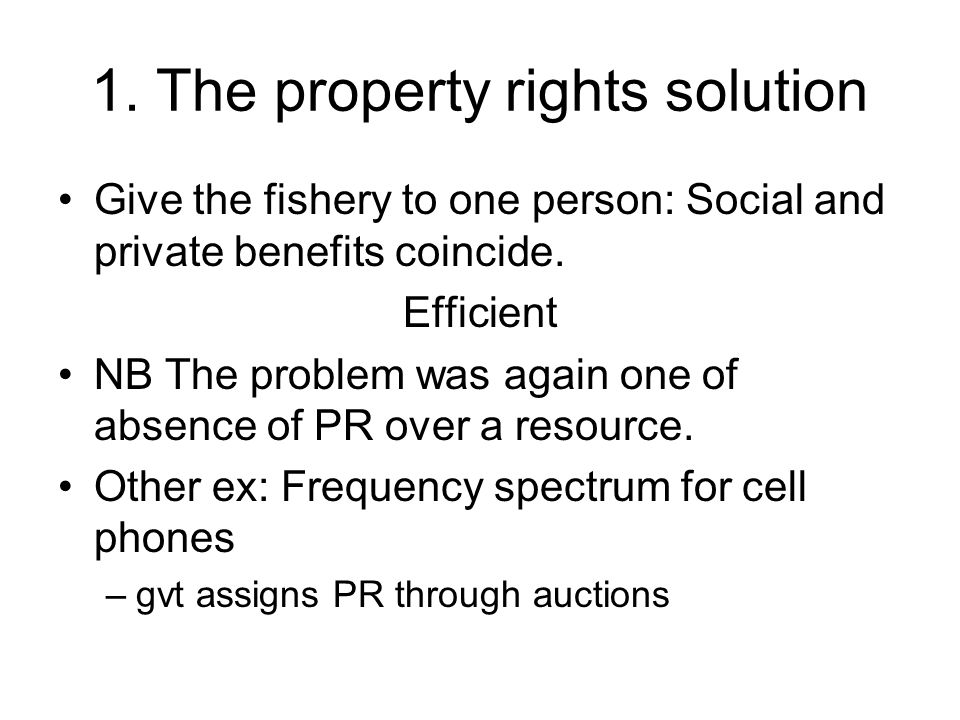 1. The property rights solution