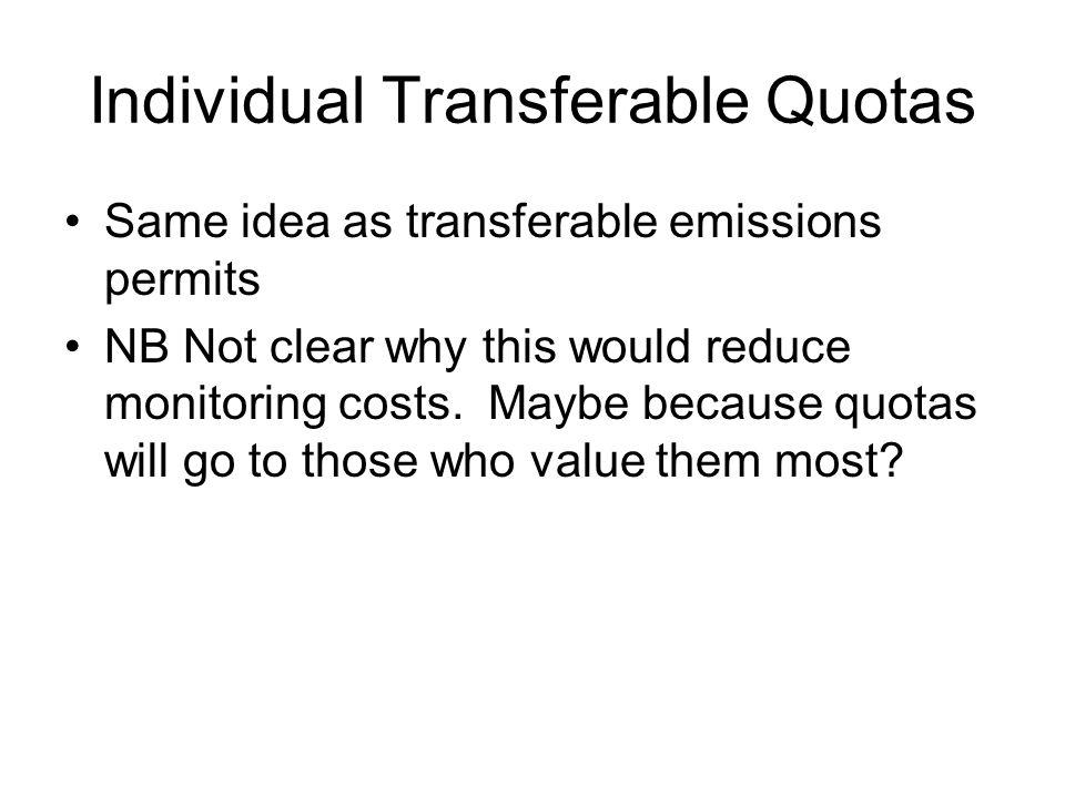 Individual Transferable Quotas