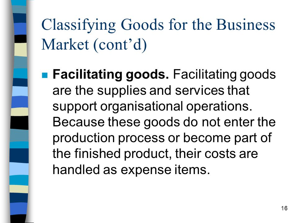Classifying Goods for the Business Market (cont'd)