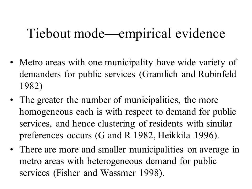 Tiebout mode—empirical evidence