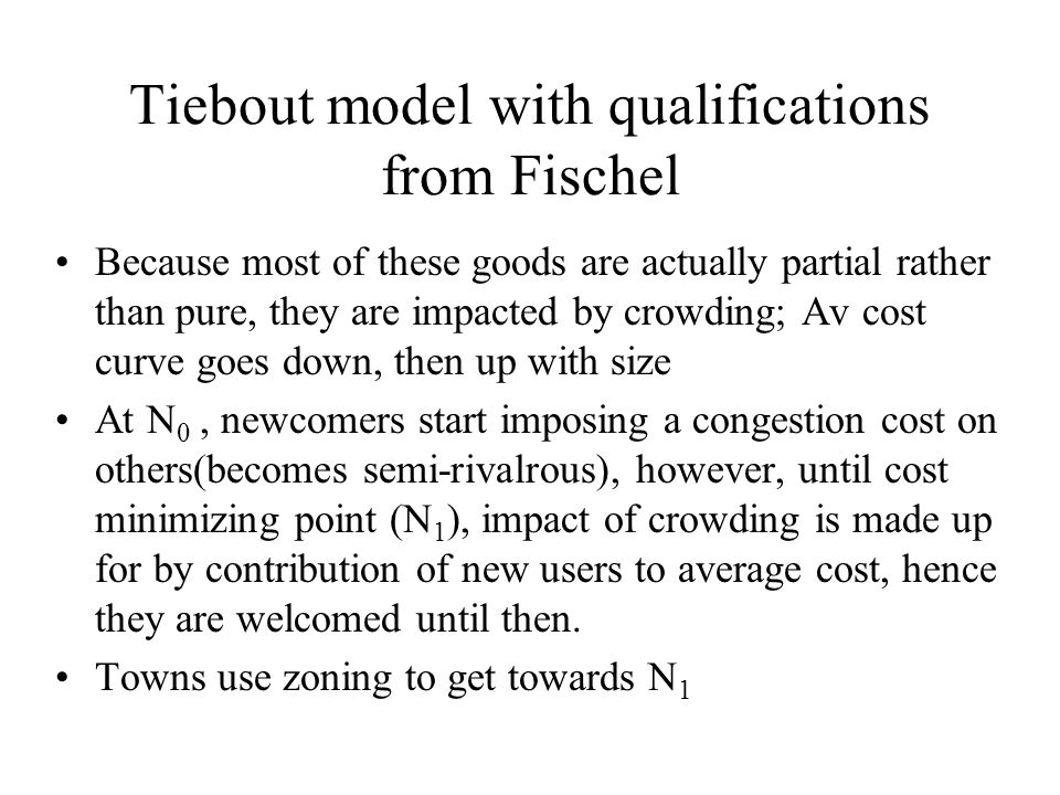 Tiebout model with qualifications from Fischel