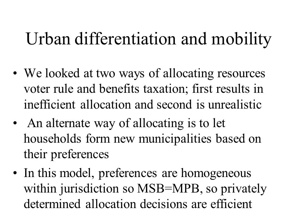 Urban differentiation and mobility