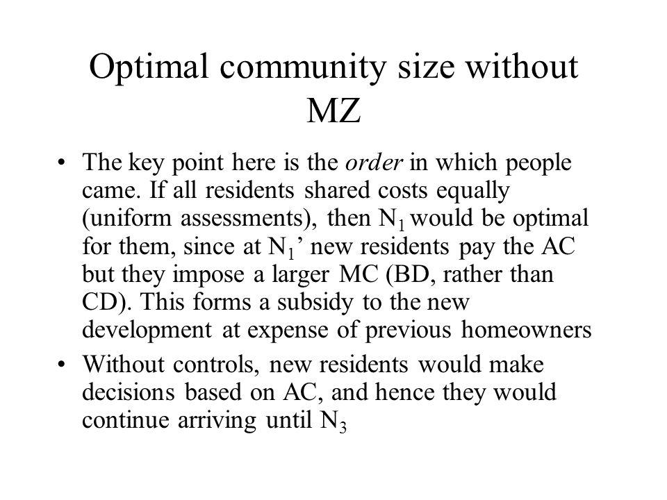 Optimal community size without MZ