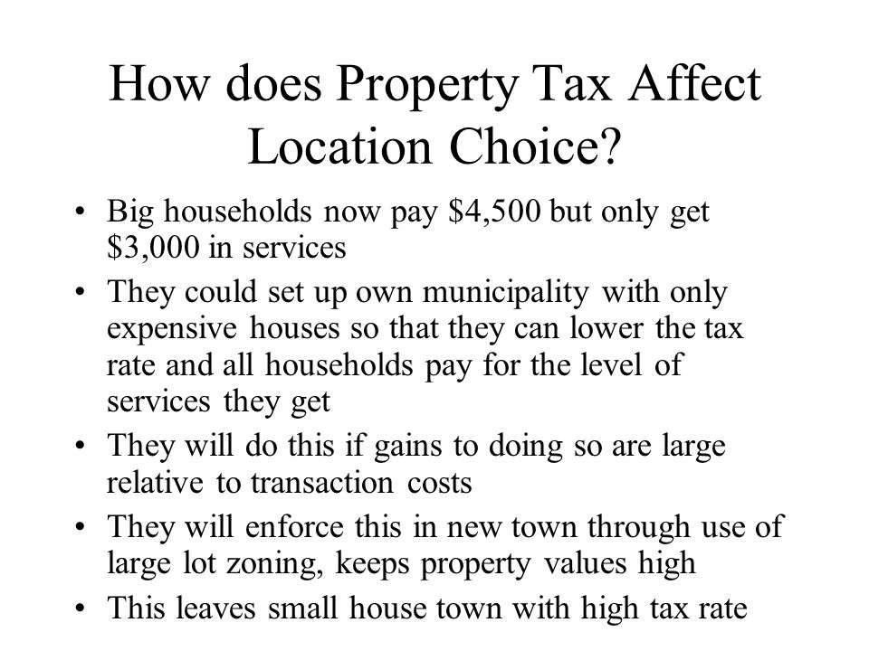 How does Property Tax Affect Location Choice