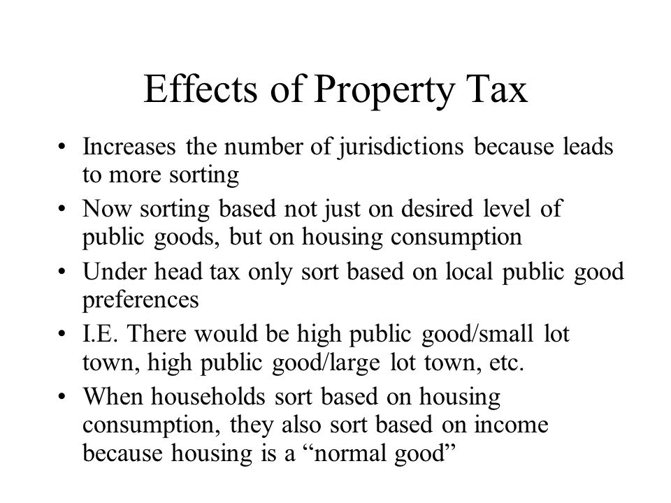 Effects of Property Tax
