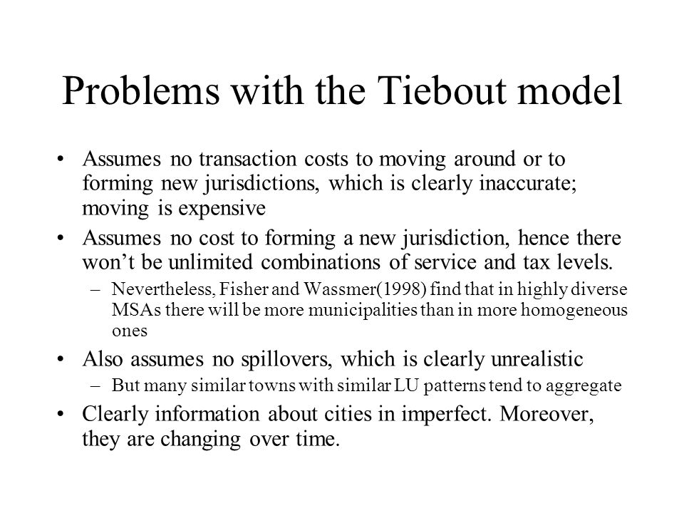 Problems with the Tiebout model