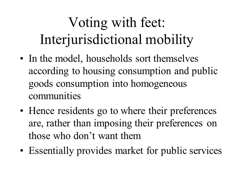Voting with feet: Interjurisdictional mobility