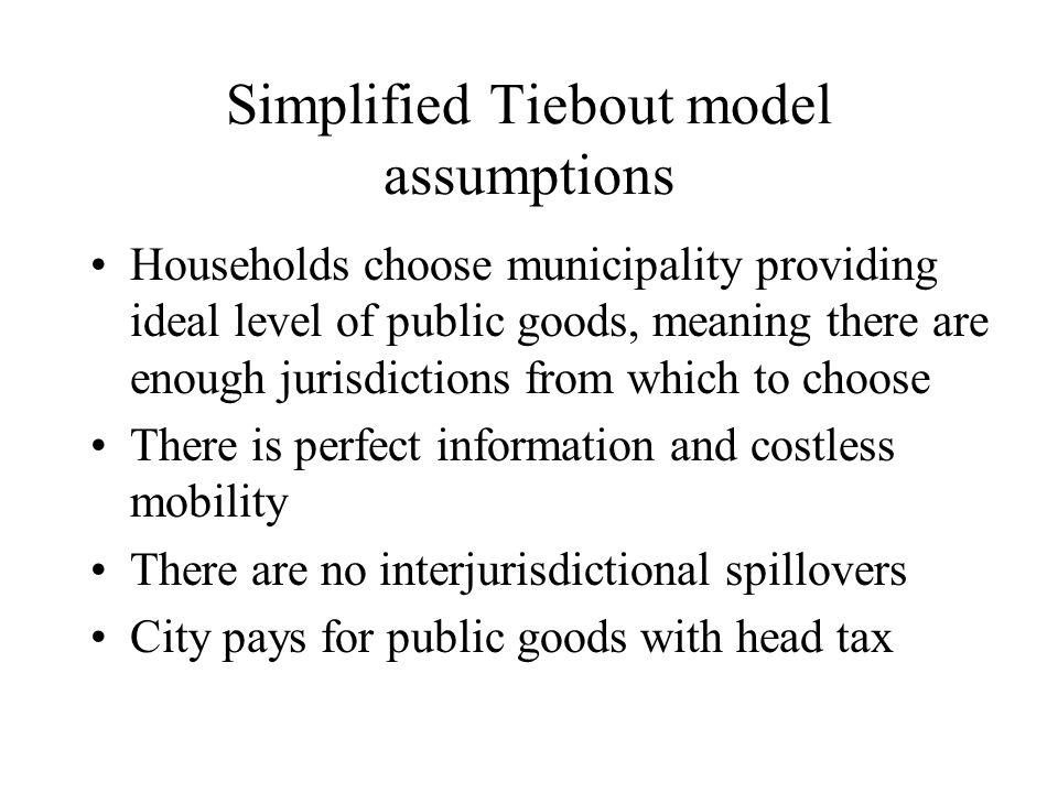 Simplified Tiebout model assumptions