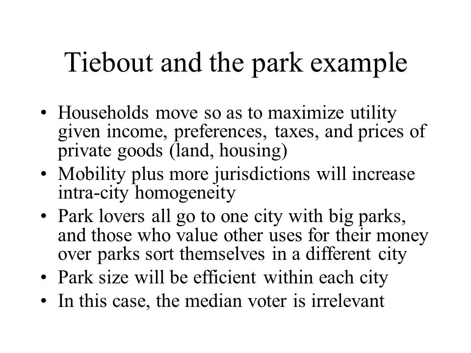 Tiebout and the park example
