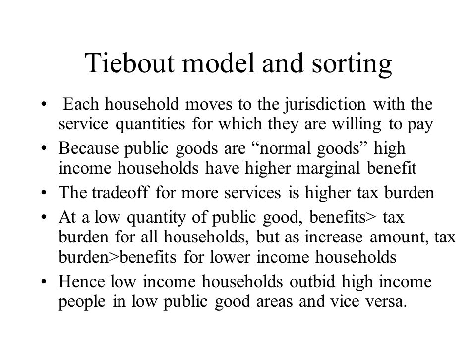 Tiebout model and sorting