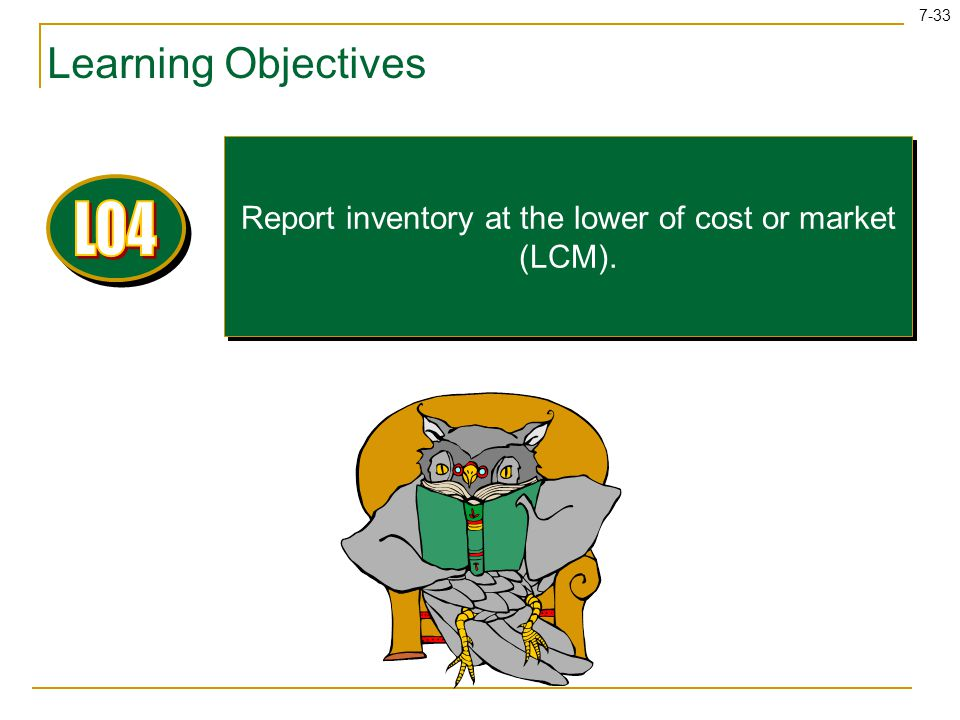 Report inventory at the lower of cost or market (LCM).