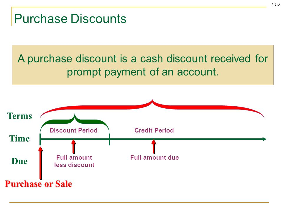 Purchase Discounts A purchase discount is a cash discount received for prompt payment of an account.