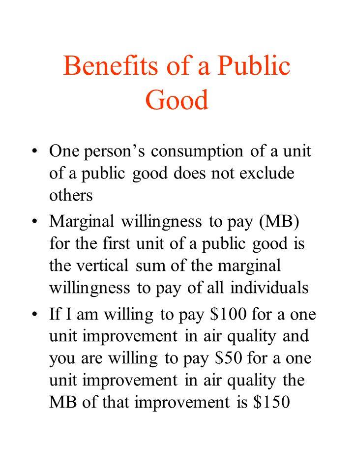 Benefits of a Public Good